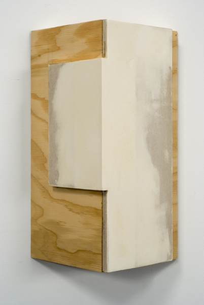 Kirsten Nelson, Corner with Drywall Plywood, 2009, drywall, spackle, wax 15.5 x 10 x 5.5 inches