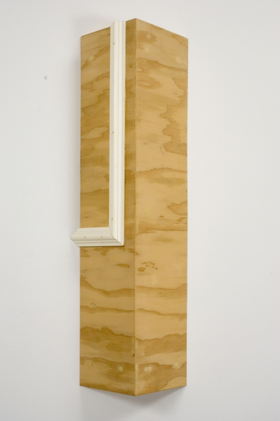 "Kirsten Nelson, ""Corner with Trim Plywood"", 2009, trim, paint, wax, 29 x 9 x 4.5 inches"
