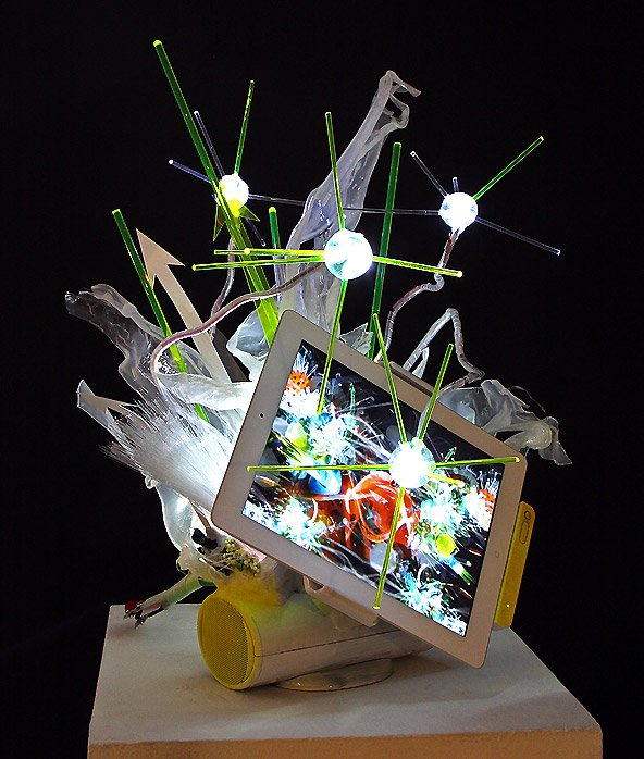 "[dNASAb], ""ipad Ecosystem"", 2011, ipad, LEDs, mixed media"
