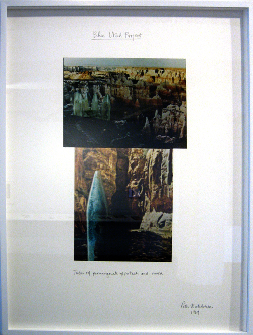"Peter Hutchinson, ""Blue Utah Project"", 1976, photograph, text on board"