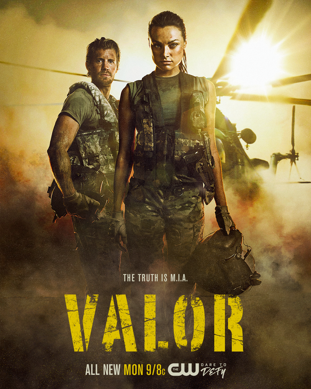 Valor. A new TV series, Monday nights at 9/8c on The CW.  http://www.cwtv.com/shows/valor/