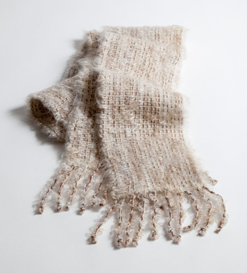 Hand-woven wool & mohair scarf