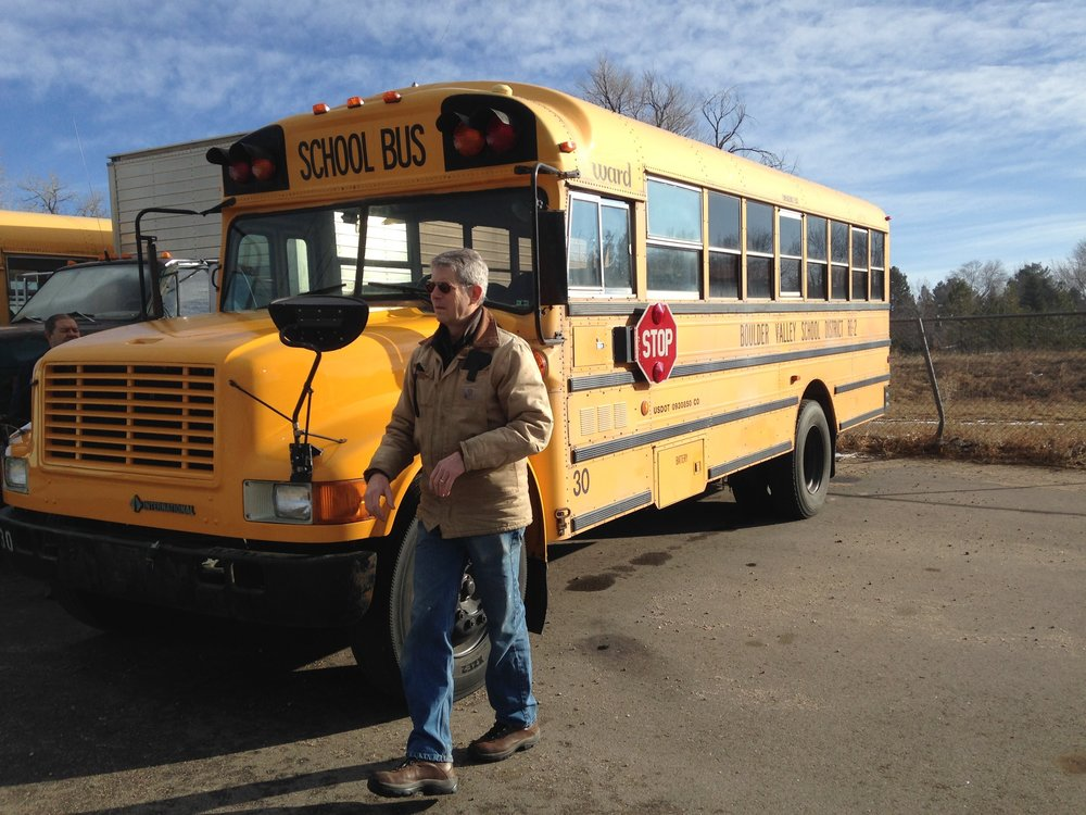 Our 1992 Ward school bus, generously donated by BVSD
