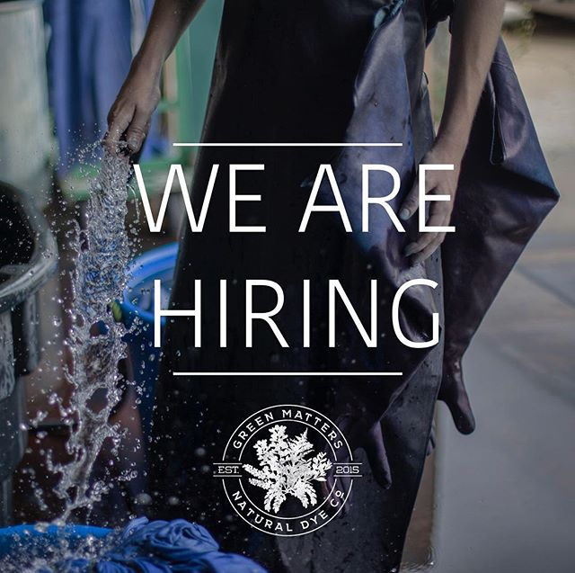 Hey friends! We are accepting applications for a freelance sample dyer. Responsibilities would include processing and cataloguing incoming samples, interpreting mood boards and color standards, dyeing swatches and sample presentation. Experience with natural dye is required, and experience with visual merchandising preferred. Please send resumes to info@greenmattersnaturaldyecompany.com . We will be holding working interviews in early May. We are looking for forward thinking, energized people who enjoy working with their hands. This is a great position for a creative, self motivated person who is inspired by color. Come work with us!