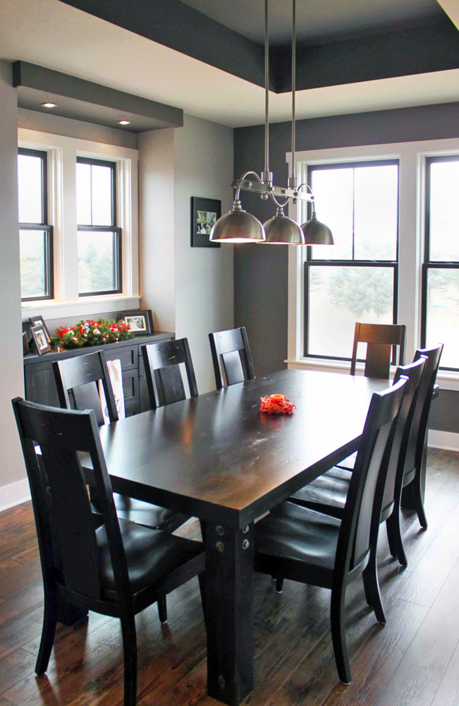 Nickel Industrial Island Light in dining room.