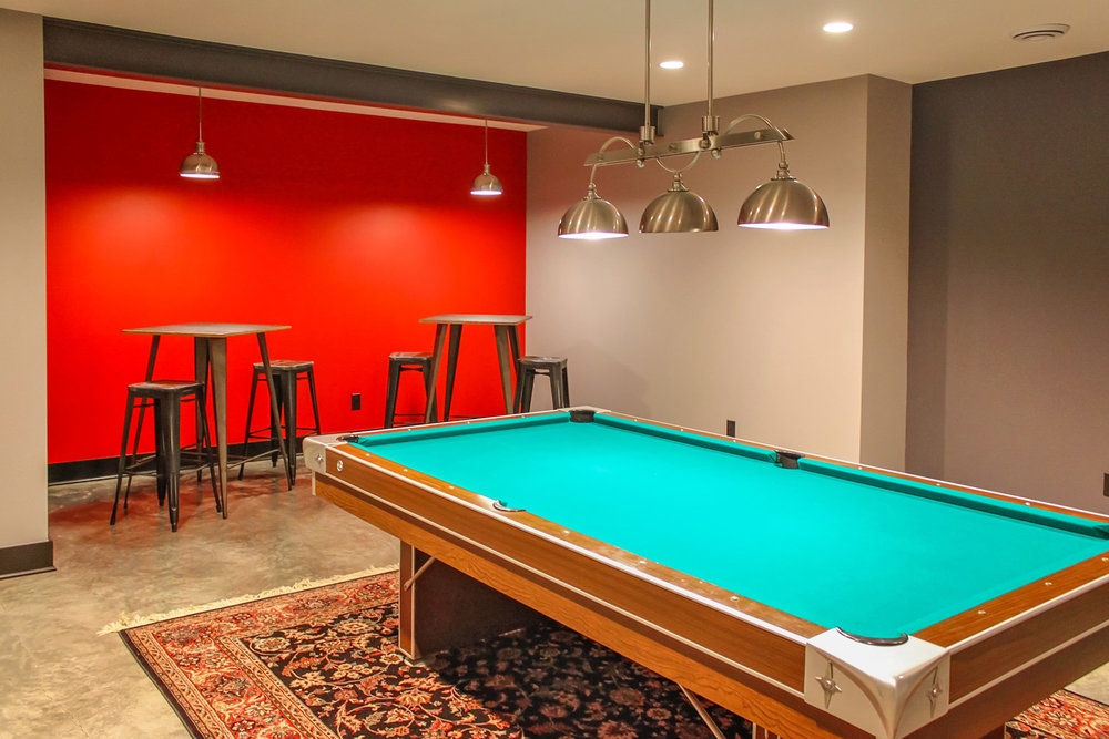Classic Contemporary Basement Billiards Room