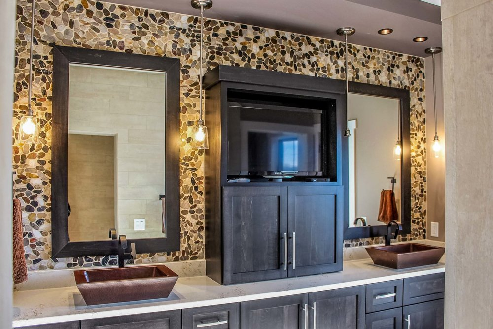 Eclectic bathroom vanity with Copper Vessel Sinks