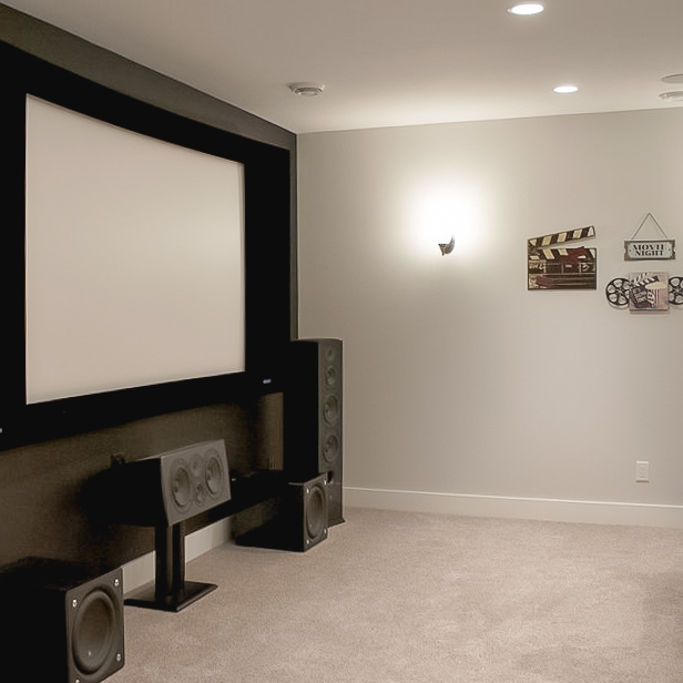 Finished Basement Theater with Projection Screen