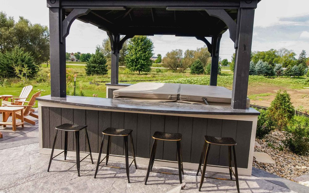 Hot Tub enclosure and Bar Seating
