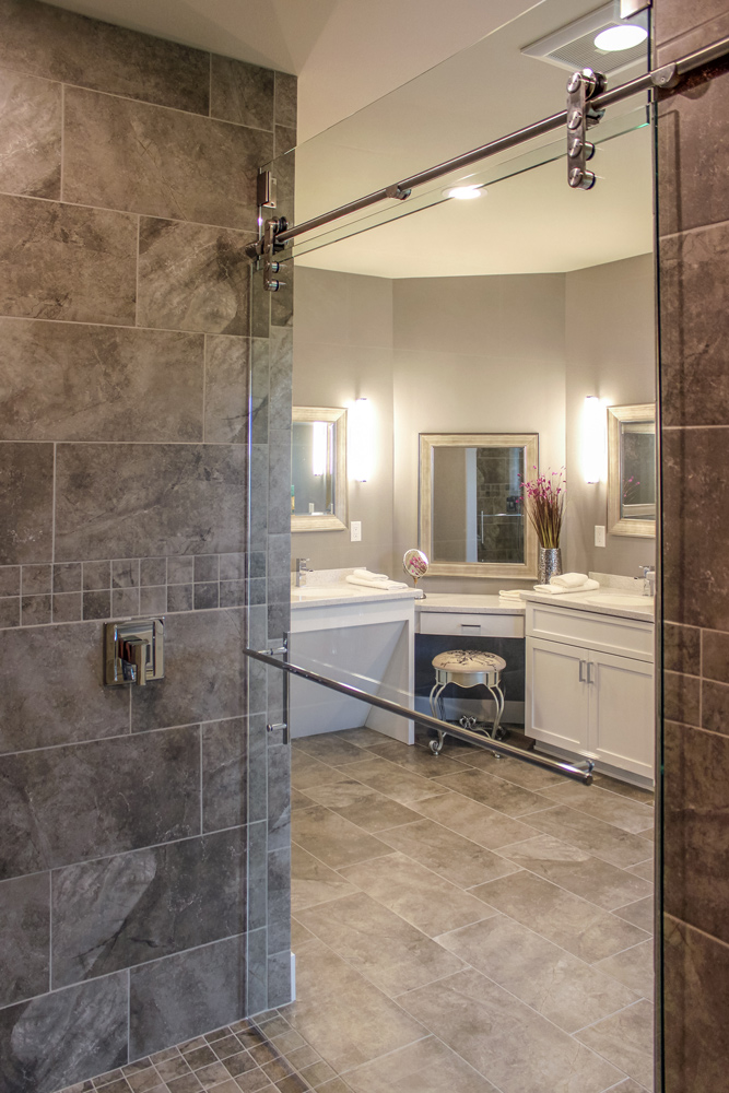 Elegant Accessible Master Bath Makup Vanity