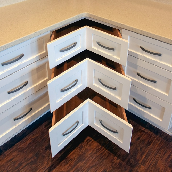 Universal Design Lower Corner Cabinet Drawers