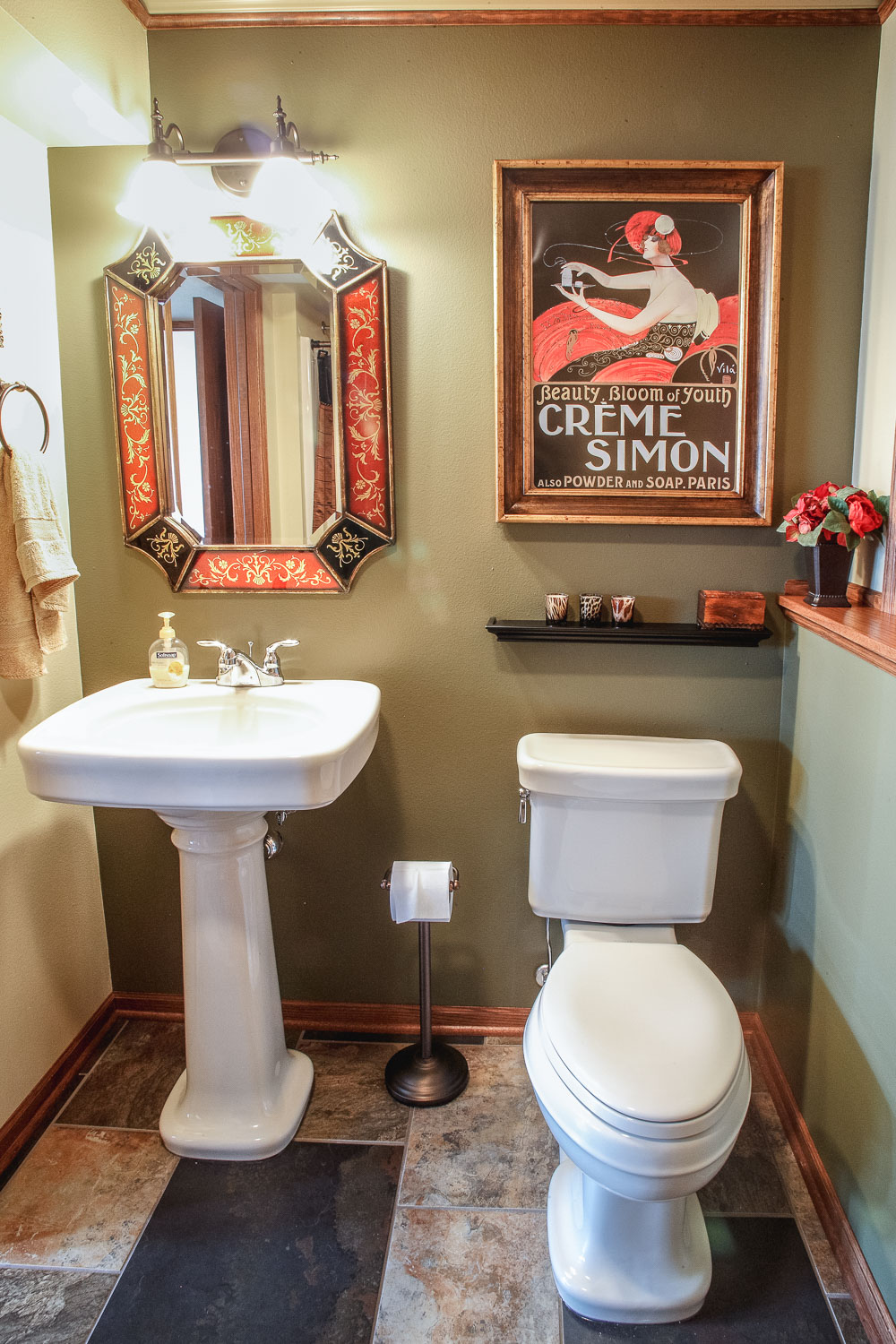 Finished Basement Half Bath with Pedestal Sink