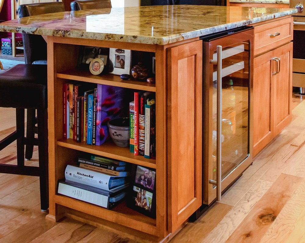 Kitchen Island with Built-In Bookcase
