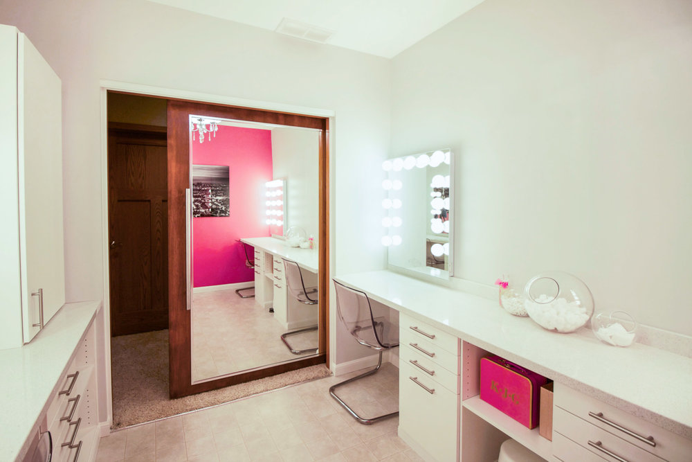 - This glamour room isn't the average bathroom. Rather, it supplements the adjacent bathroom that 3 teenage girls share.