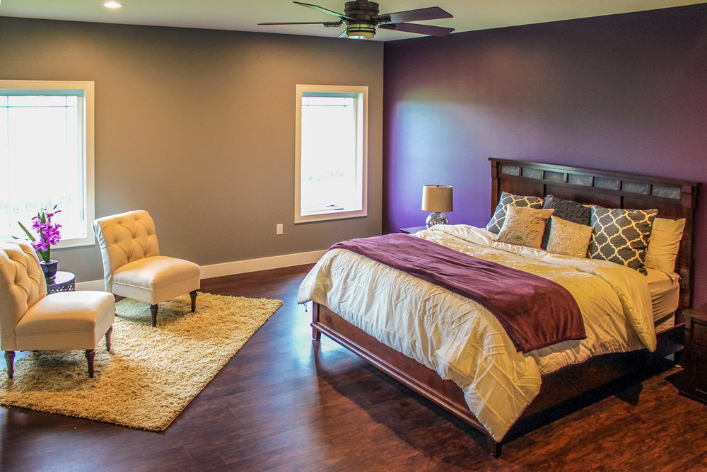 - The master bedroom of this home was designed with universal design principles in mind, including plenty of space for wheelchair accessibility.