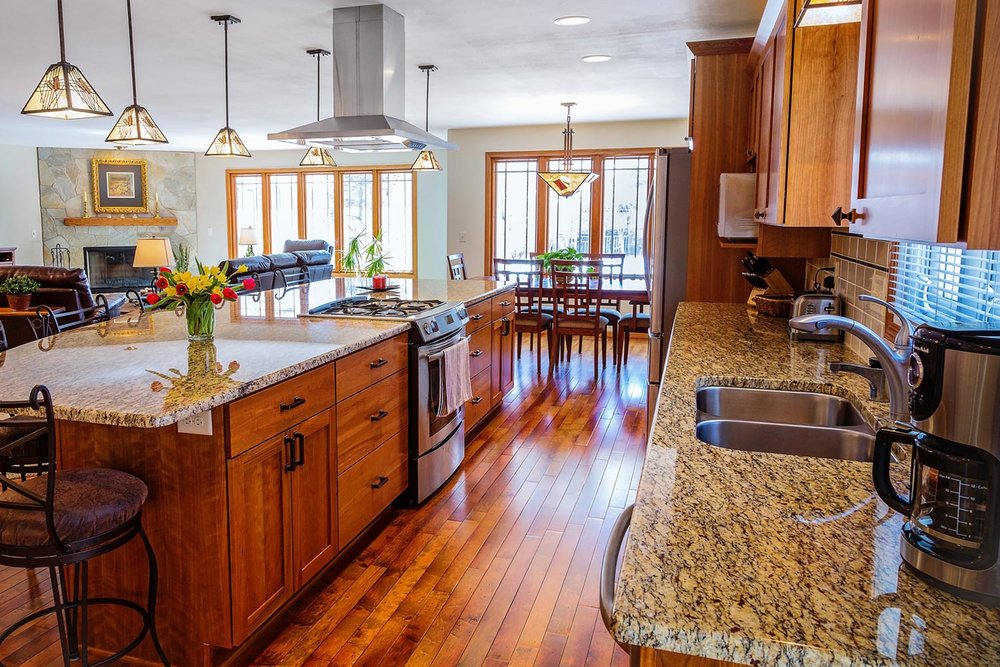 - This island kitchen is quite like a galley kitchen, but without the second wall. Galleys and islands are very efficient layouts. A galley has the potential advantage of allowing for wall cabinets to be placed on two walls, not just on a single wall.