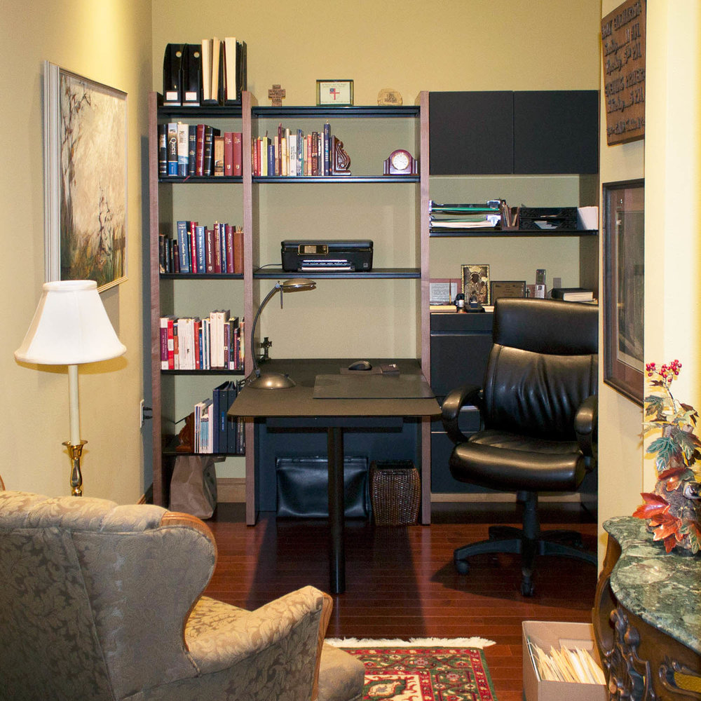 this nook office resides just off the foyer. click through to the project page for a video tour explaining how we created a home office space in this condo.