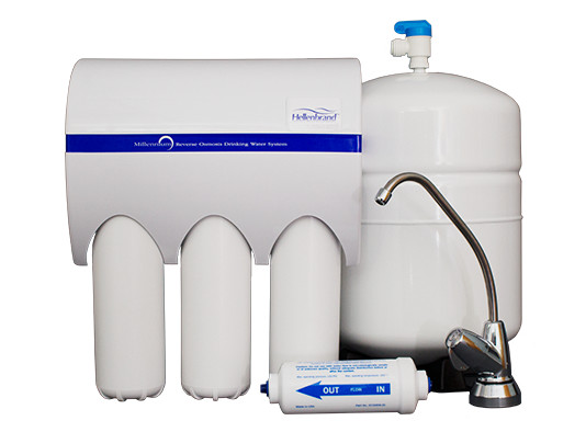 Reverse Osmosis Water Filtration System - This is an example of a point-of-entry multi-faucet RO system with a water storage tank. It allows the Reverse Osmosis system to process several gallons of drinking water ahead of time, for faster filling speeds. A RO system without a storage tank will operate very slowly.