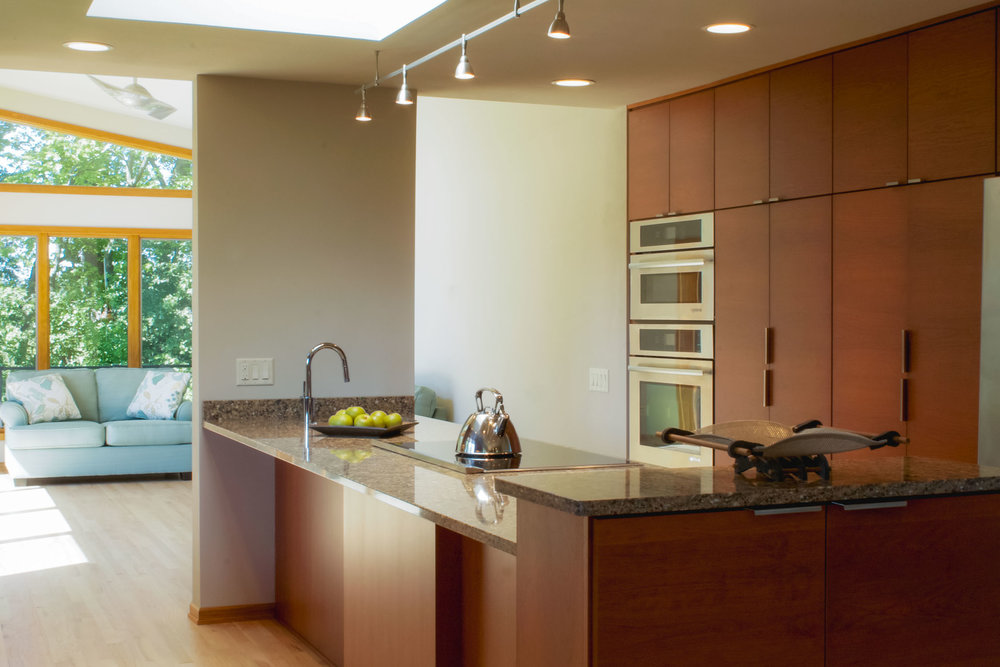 This contemporary westport kitchen uses a rectangular base shoe instead of the standard rounded base shoe.