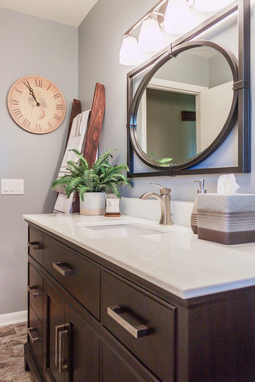 Bathroom Renovation with an espresso vanity