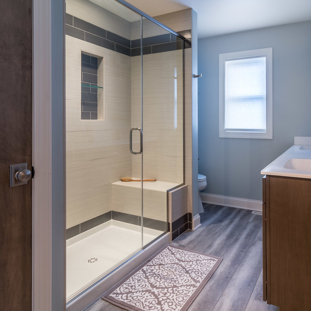 Color Determines the Feel - Bold? Serene? Warm? Calming? The color of paint, tile and flooring will determine the feel of the bathroom. Which suites your personal need?