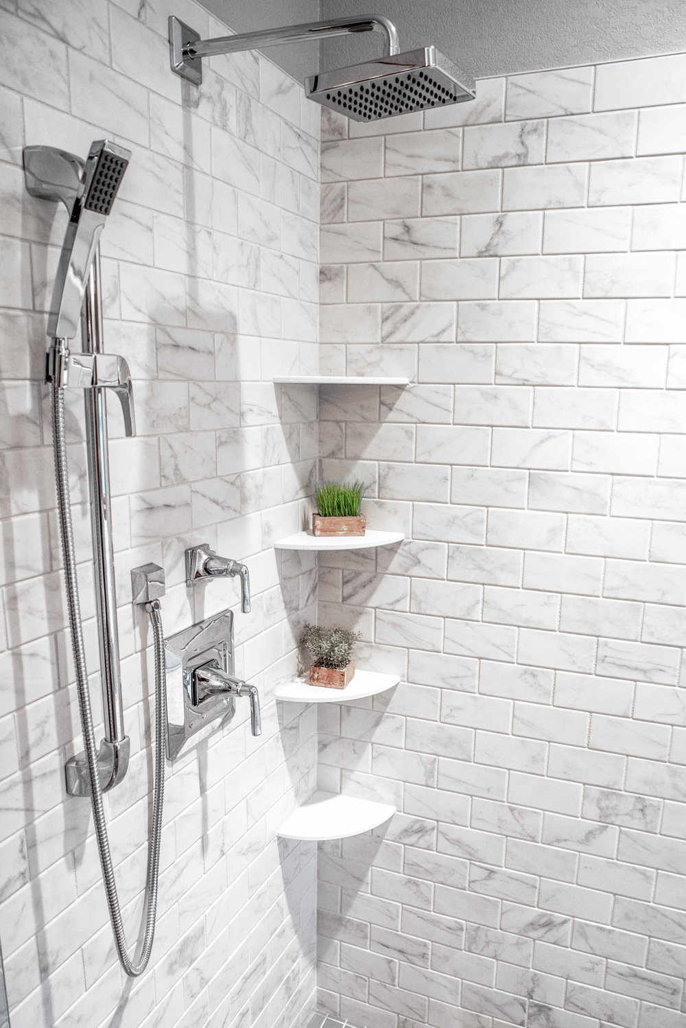 """The Shower Wall is Shaw Elegance 3"""" X 6"""" Subway Tile"""