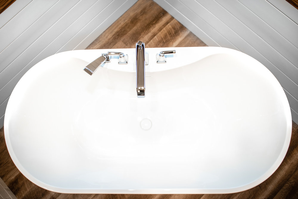 The Freestanding Soaking Tub is by Mirabelle