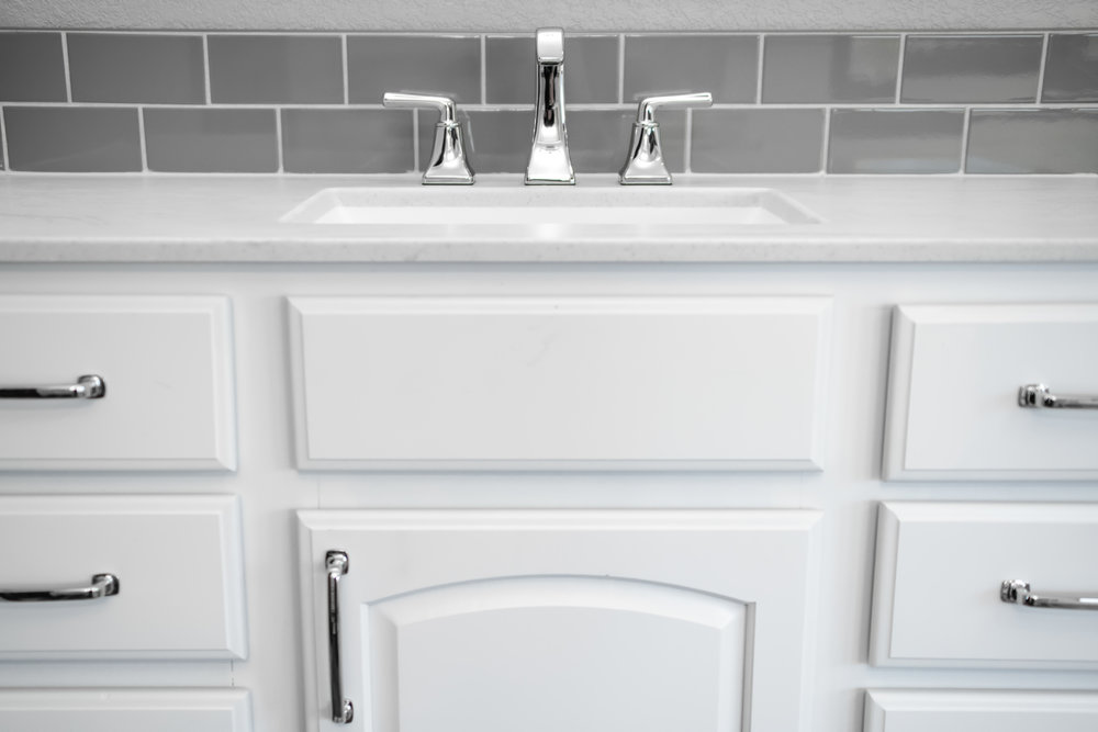 The Vanity Top Is Cultured Marble by Classic Marble of Arthur in Vein Storm