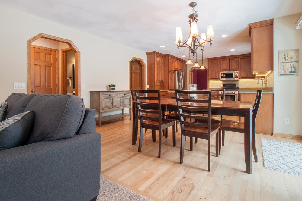 """The flooring is Site-finished, ¾"""" thick #1 common red oak hardwood ."""