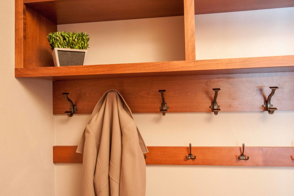The mudroom now has easily accessible storage.