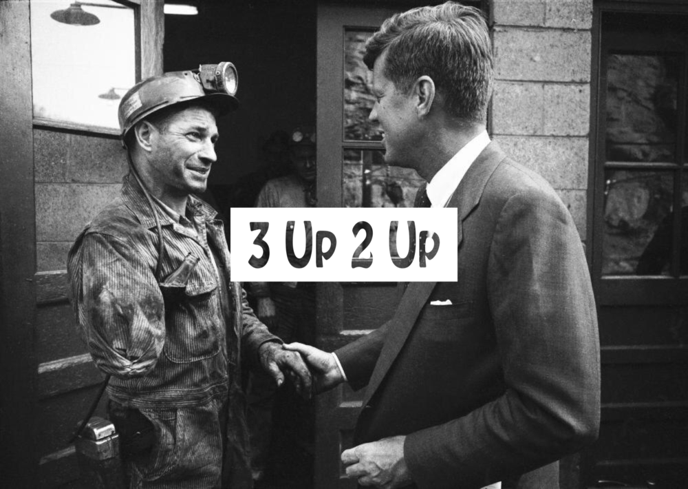 JFK shakes hands with one-armed coal miner in Mullens, WV  (by Hank Walker, Getty Images)