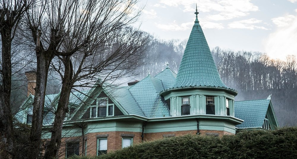 This mansion was built in 1910 for Edward Cooper Sr. It is the first house in the country to be entirely roofed in copper (by Rebecca Kasey).