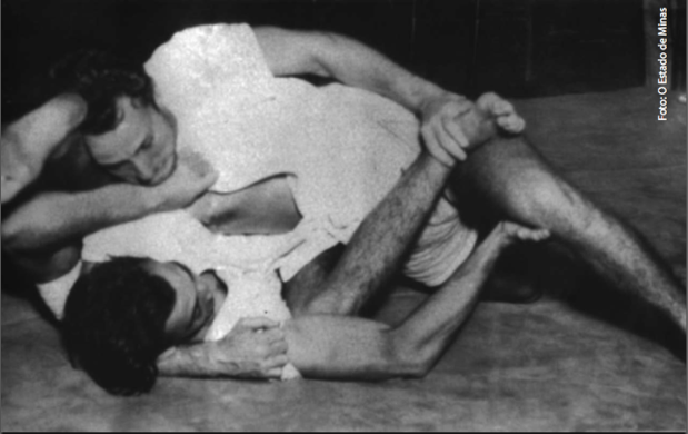 Gracie brothers George and Helio grappling in the 1930s in Rio de Janeiro, Brazil.