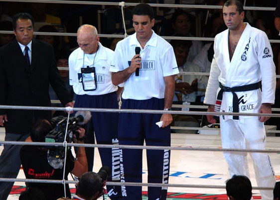 Professor Pedro Valente speaking on behalf of Grandmaster Helio Gracie and his son Royce Gracie at the Tokyo Olympic Stadium in Japan.