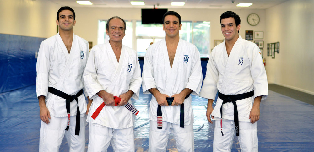 Grand Master Pedro Valente Sr. and his sons Professors Gui, Pedro and Joaquim Valente