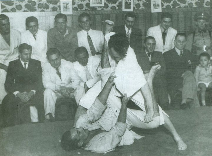 Helio and Carlos Gracie demonstrating the art of Jiu-Jitsu (jujutsu).