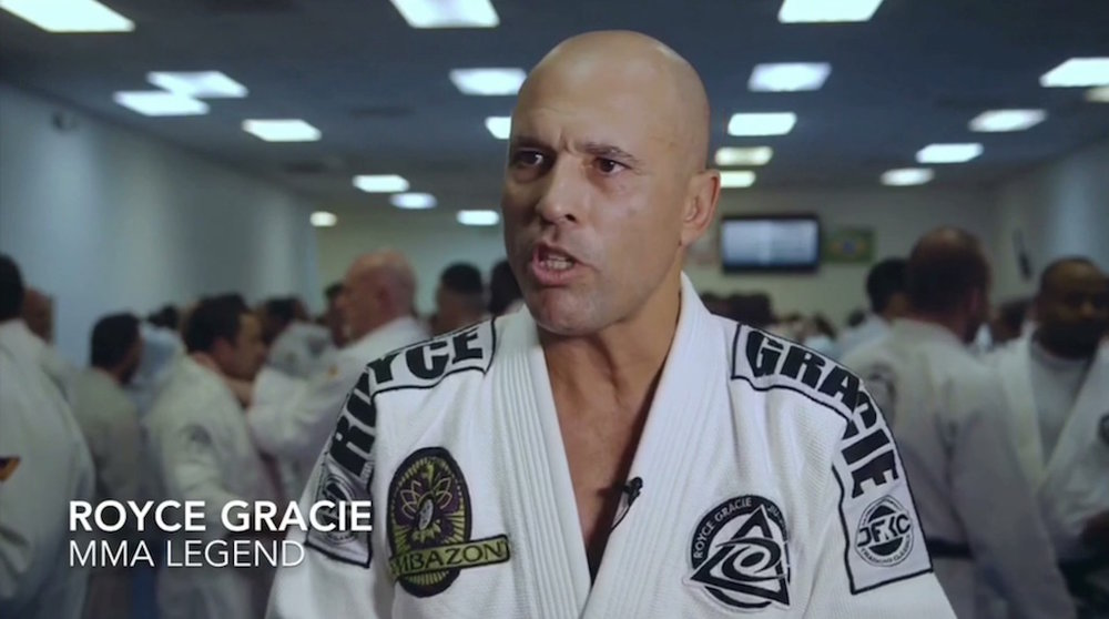 Royce Gracie announcing the adoption of the Fighting Foundations™ program during the 2016 Winter Belt Ceremony at Valente Brothers in North Miami Beach.