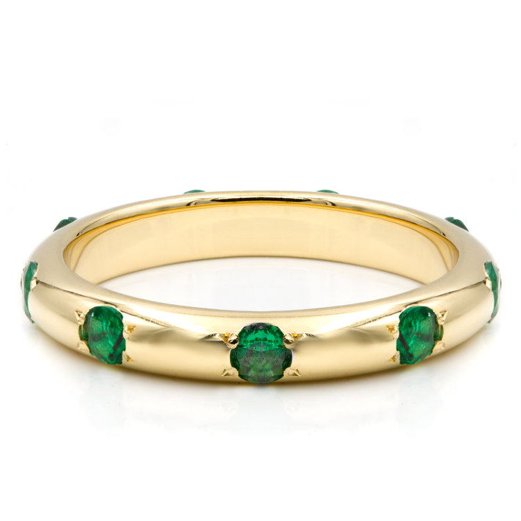 with ring band stone unique bands radiant cut of engagement three infinity wedding emerald