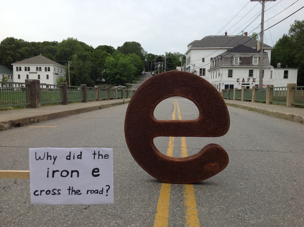 Here is An Even Bigger Iron e crossing the road!  The first observation was over the rail and checking out the space where it served as a penstock.  Now……let's get heading to UMF for the show at Emery Community Arts Center!!