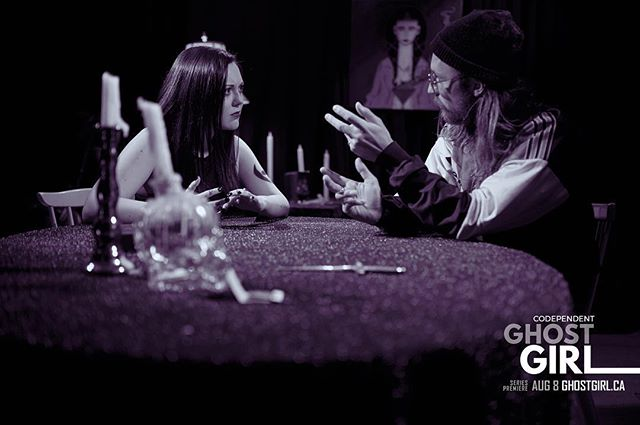 Tips for holding a seance tonight: Gather your friends within a circle of salt to keep the bad energies away. If only this worked at the bar, AMIRIGHT? #ouija #seance #seancephoto #ghostgirl #royaltusk #yeg #yegfilm #yegarts #yegmusic #filmstill #onset #tarot #witchywoman #halloween #screamqueen #horror #witchesofinstagram #killervibes 💗👻🔪