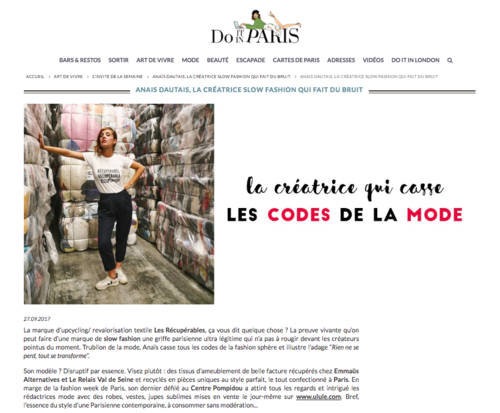 "DO IT IN PARIS - ""La créatrice qui casse les codes de la mode"" by Élodie R.Septembre 2017"