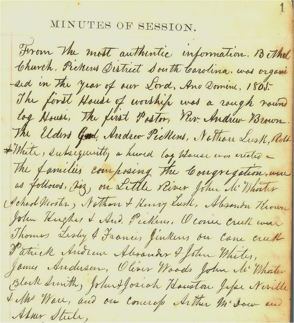 "On the first page of the Minutes of Session book, Samuel McFall wrote down the early history of the church and the names of the founding families. Or to use his words: ""From the most authentic information …."""