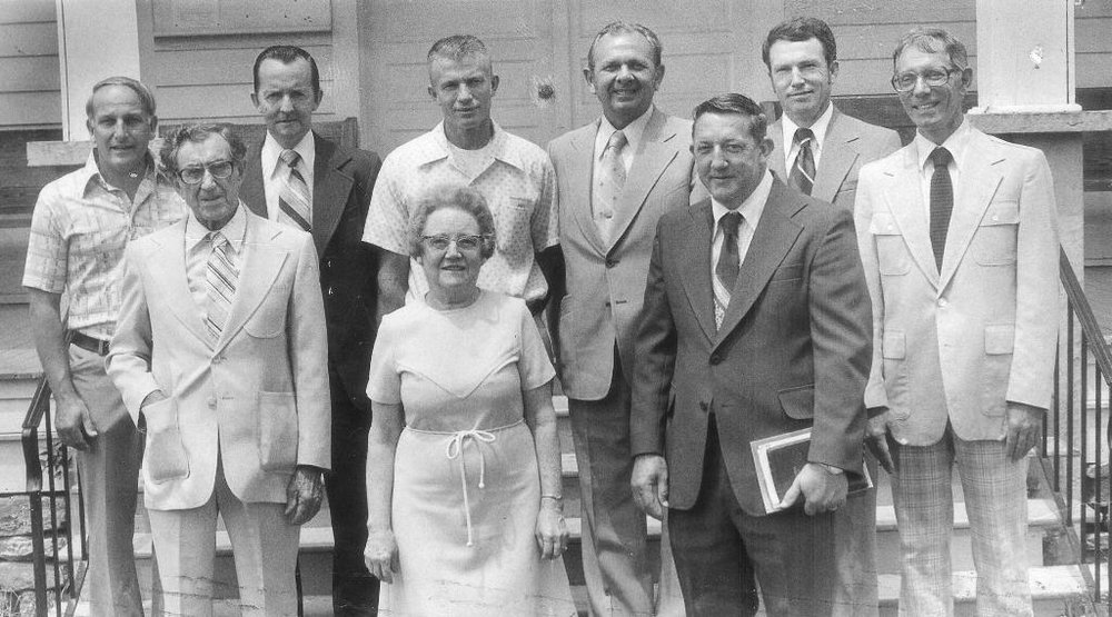 The first female elder in Bethel's history,  Catherine O'Neal Rankin,  was ordained June 24, 1979.     Front Row: D.L. Hanvey, Mrs. Rankin,     Frankie Galloway, Rev. Stevenson  Back Row: Paul Chalmers, Hoyt Lee,  Joe McAlister,  Robert Zetwick,  John Stout