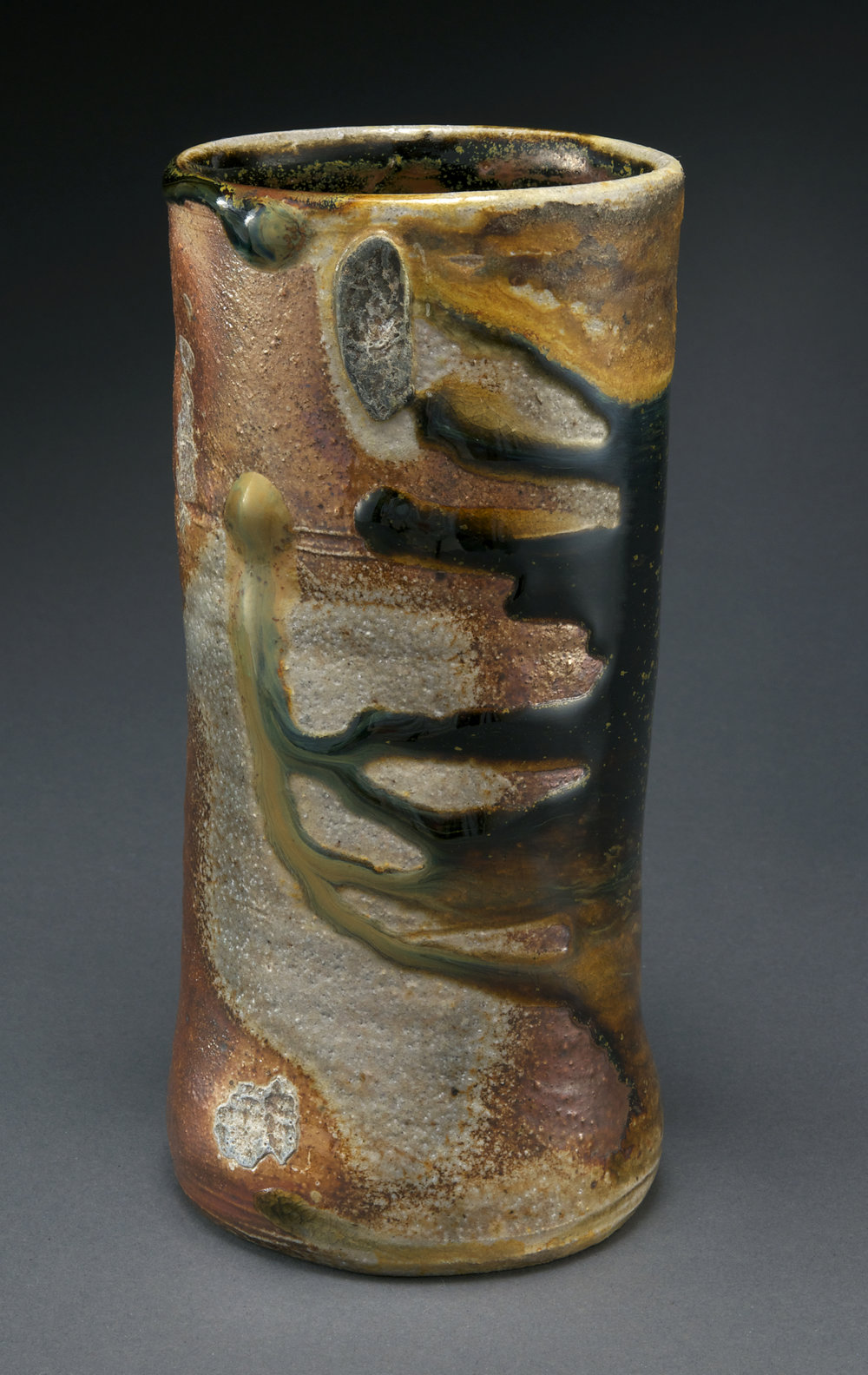 Cylinder vase with temmoku brown-1