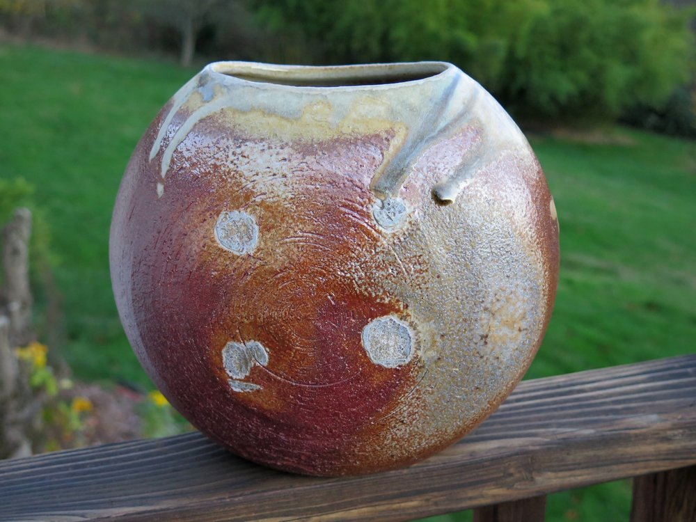 Oval vase with ash glaze
