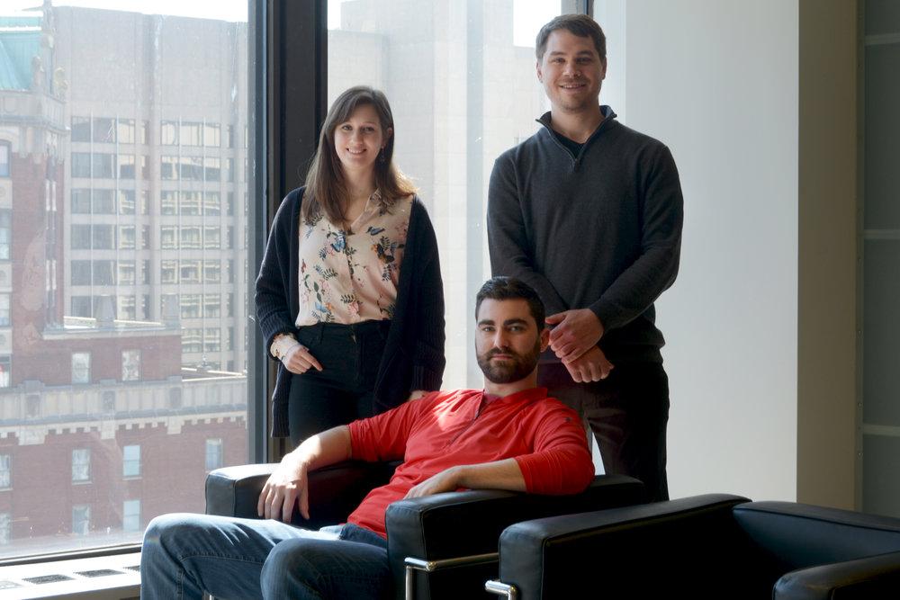 left to right:  Maria J. Garcia  Environmental Graphic Designer,  Ryan Janes  Architectural Designer,  Adam Chisholm  Architectural Designer