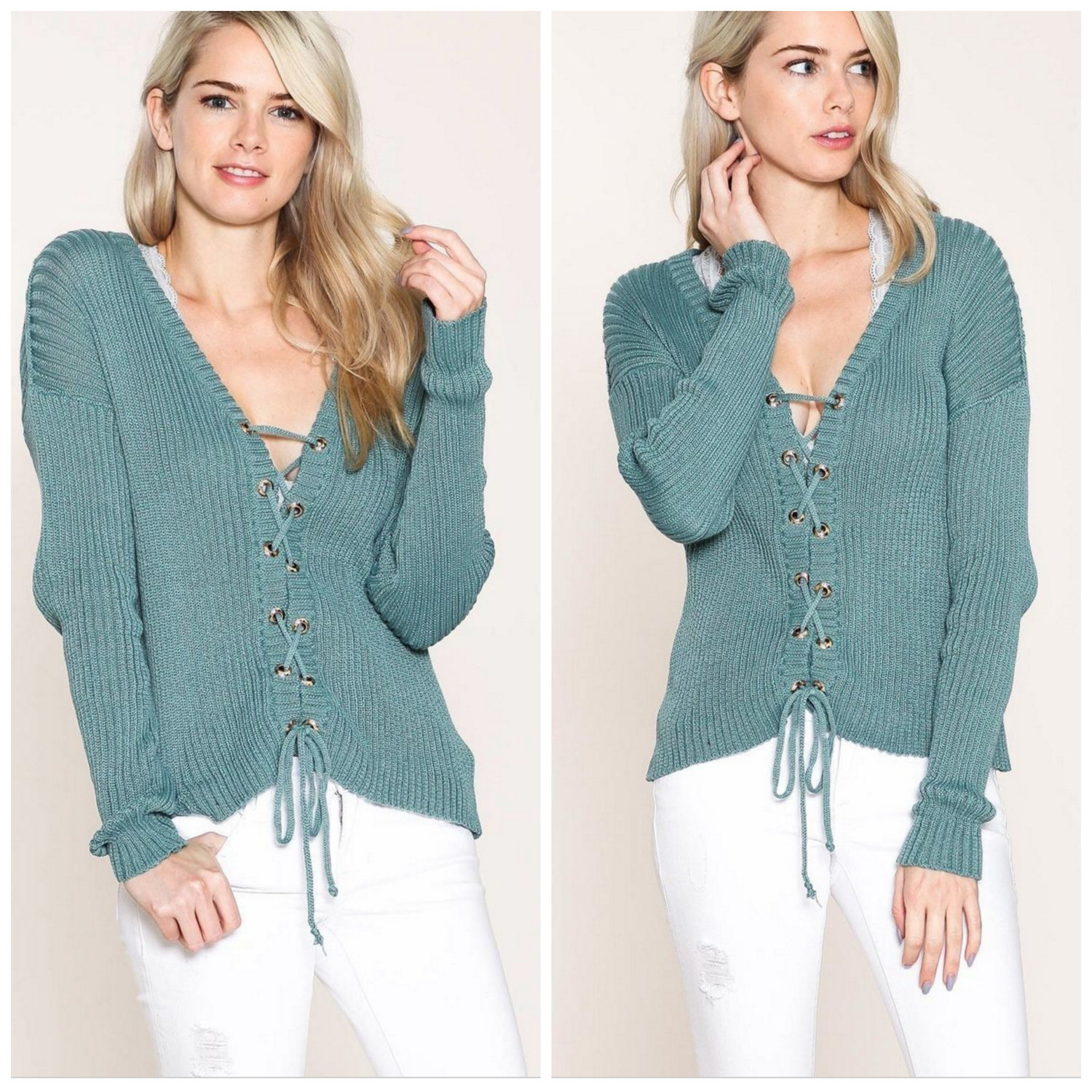 Teal Lace Up Cardigan Sweater — Monika Rose San Francisco | Boutique