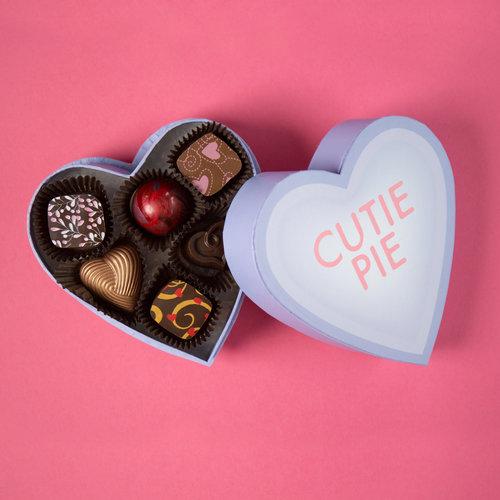 6-Piece Heart-Message Box — St. Croix Chocolate Co.
