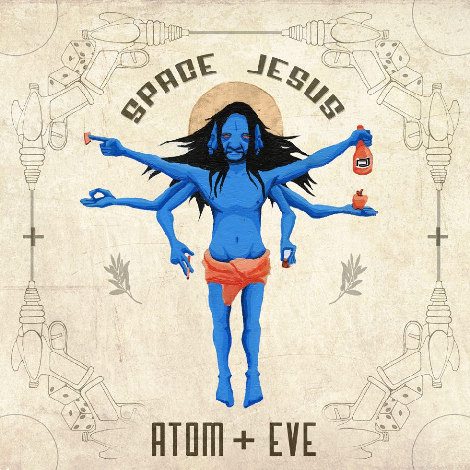 Space Jesus Atom + Eve Album Art - acrylic, ink, digital