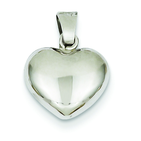 14k white gold puffed heart pendant troy jewelers 14k white gold puffed heart pendant mozeypictures Choice Image
